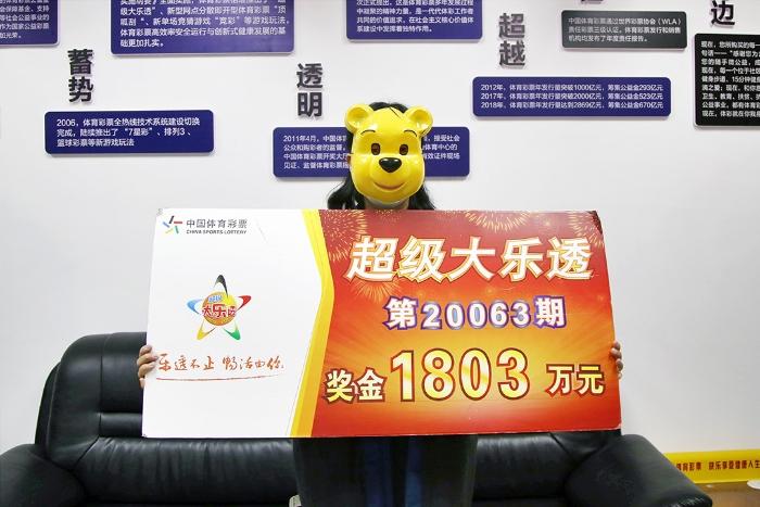 桂林1803万元大奖得主领奖1