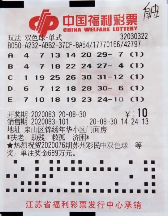 号码随机全凭运气 徐州彩民喜获双色球791万元大奖