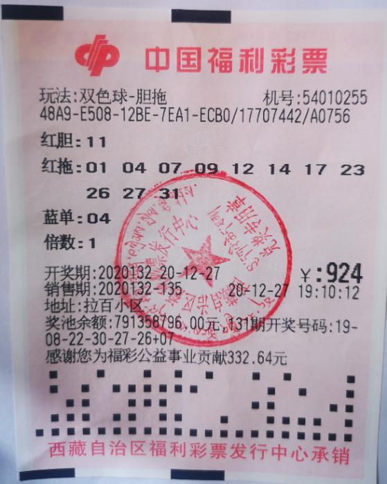 西藏彩民喜中福彩双色球1012万元巨奖 创历史新高