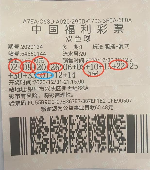 跨年夜 宁夏女子收双色球559万元新年大礼