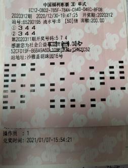 自信满满 彩民喜中3D奖金10.4万元