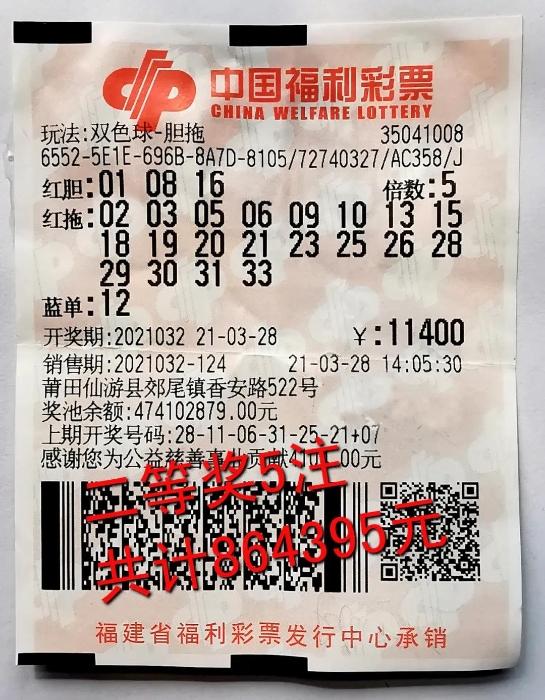 莆田六彩民合买双色球击中86万元大奖